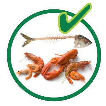 Organic recycling - fish and shellfish are allowed.